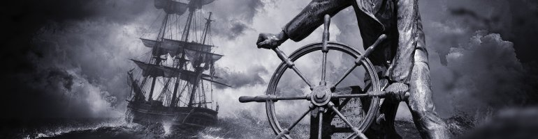 A greyscale composite picture involving several elements. The background is a storm sea beneath a cloudy sky on which a large ship or galleon is sailing. Imposed on top of this is a statue or sculpture of a sailor at a helm.
